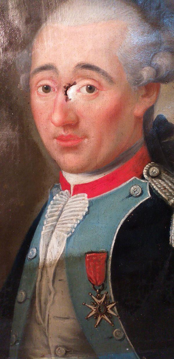 portrait officier 18ème en cours de restauration